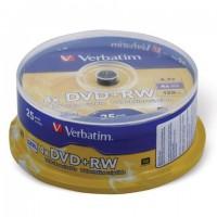 Диски DVD+RW (плюс) VERBATIM 4,7 Gb 4x, КОМПЛЕКТ 25 шт., Cake Box, 43489