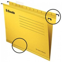 """Подвесные папки А4/Foolscap (400х240 мм), до 300 листов, КОМПЛЕКТ 25 шт., желтые, картон, ESSELTE """"PlusFoolscap"""", 90335"""