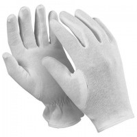 """Перчатки хлопчатобумажные MANIPULA """"Атом"""", КОМПЛЕКТ 12 пар, размер 7 (S), белые, ТТ-44"""