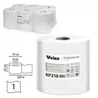 Полотенца бумажные с центральной вытяжкой 200 м, VEIRO (Система M2) COMFORT, 1-слойные, белые, КОМПЛЕКТ 6 рулонов, KP210, КР210