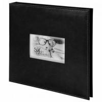 """Фотоальбом BRAUBERG """"Premium Black"""" 20 магнитных листов 30х32 см, под кожу, черный, 391186"""