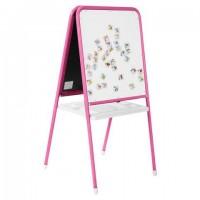 Доска-мольберт двусторонняя для мела и магнитно-маркерная (48х53 см), розовая/белая, ДЭМИ МДУ.06