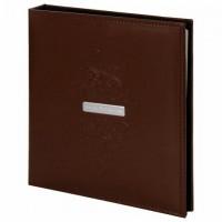 """Фотоальбом BRAUBERG """"Beta"""" 20 магнитных листов, 23х28 см, под гладкую кожу, коричневый, 391180"""