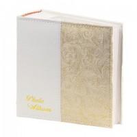 Фотоальбом BRAUBERG на 300 фото 10х15 см, под кожу, бумажные страницы, бокс, белый+золото, 391117