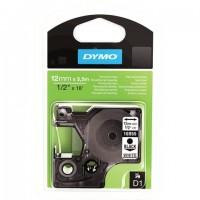 Картридж для принтеров этикеток DYMO D1, 12 мм х 5,5 м, лента полиэстерная, чёрный шрифт, белый фон, S0718060