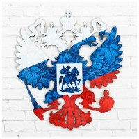Герб настенный «Россия. Герб. Триколор», 22,5 х 25 см