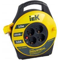 Удлинитель на катушке силовой IEK 4 розетки 10м УК10 Industrial 10А IP20 с/з