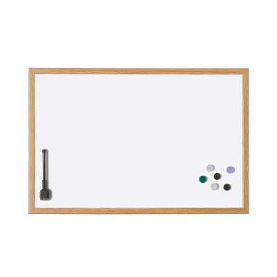 12 192 6 Белая лаковая магнитно маркерная доска в деревянной раме Magnetoplan, 590 х 390 мм