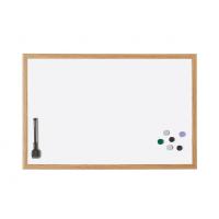 12 192 8 Белая лаковая магнитно маркерная доска в деревянной раме Magnetoplan, 990 х 590 мм