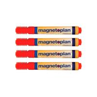 12 281 06 Набор из 4-х маркеров Magnetoplan, для досок и бумаги, красные