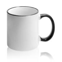 Кружка для сублимации белая с чёрной ручкой и ободком (36 шт)