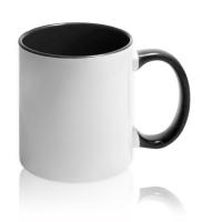 Кружка для сублимации белая с чёрной ручкой и внутри (36 шт)
