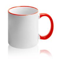 Кружка для сублимации белая с красной ручкой и ободком (36 шт)