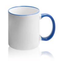 Кружка для сублимации белая с синей ручкой и ободком (36 шт)