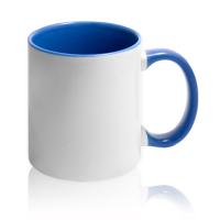 Кружка для сублимации белая с синей ручкой и внутри (36 шт)