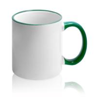 Кружка для сублимации белая с зелёной ручкой и ободком (36 шт)