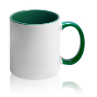 Кружка для сублимации белая с зелёной ручкой и внутри (36 шт)