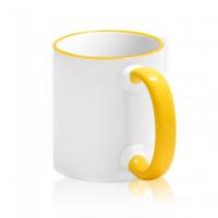 Кружка для сублимации белая с жёлтой ручкой и ободком (36 шт)