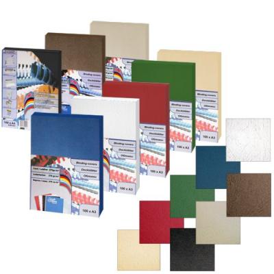Обложка для переплета картон-кожа А4, коричневая, 270 г/м2, 100 шт
