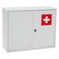Шкаф-аптечка металлическая Office-Force двустворчатый с ключевым замком, настенный, 360 х 450 х 150 мм