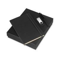 Подарочный набор Vision Pro Plus soft-touch с флешкой, ручкой и блокнотом А5, черный