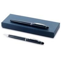 Набор ручек Arlesв подарочной коробке: ручка шариковая и роллер, темно-синий, черные чернила