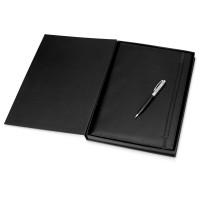 Набор: блокнот A4, ручка шариковая. Cerruti 1881, черный/серебристый