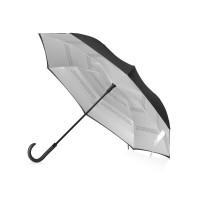 Зонт-трость наоборот Inversa, полуавтомат , черный/серебристый